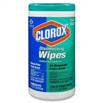 Clorox Disinfecting Wipes - Wipe - Fresh Scent - 75 / Canister - 6 / Carton - White