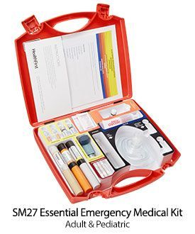 SM27 Emergency Medical Kit,Epipen – Adult & Pediatric – 1 of each Auto-injector training unit -1 Back-up Epinephrine ampules 1:1000, 1mg/ml – 2 Diphenhydramine 50mg/1ml – 2 Albuterol inhaler – 1 Nitroglycerin  tablets – 25 Ammonia inhalants – 3 Oral gluco