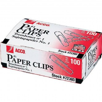 ACCO Economy Paper Clips, Silver finish, #1 Smooth, 100/Bx